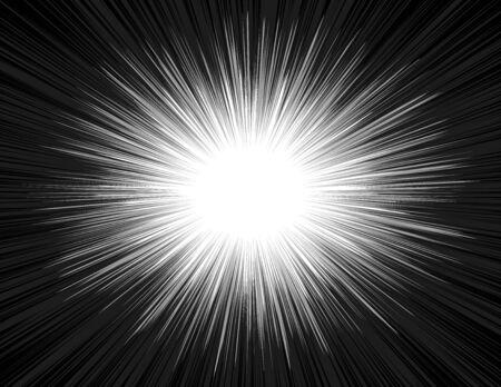 Raggi di luce di un'esplosione con uno zoom radiale in stile fumetto. Brillare sfondo radiante di manga nei colori bianco e nero. L'emissione di energia luminosa nel Big Bang. Illustrazione vettoriale Archivio Fotografico - 88500383
