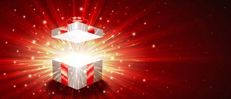 Aprire una confezione regalo con un luminoso scintillio di scintillio di scintillio e raggi di luce. Saluto banner per Natale, Capodanno, Compleanno. L'illustrazione vettoriale è proporzionale alla dimensione del volantino 8.5x3.66 Archivio Fotografico - 88401356