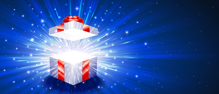 Greeting package with red bow knot. Open gift box with exploding firework of glitters and light rays.