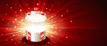Open gift box with exploding firework of glitters on light rays.Vector background banner of post card illustration.