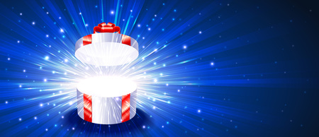 Open gift box with light rays icon.