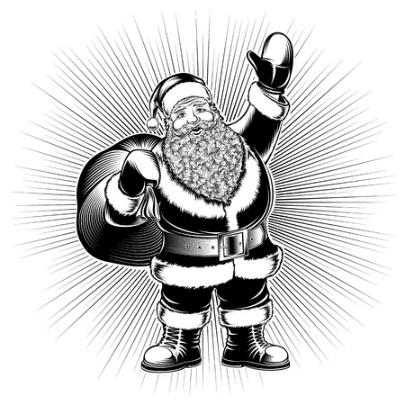 Santa Claus is holding bag of gifts on radiant background and show greeting gesture on Christmas or New Year. Vector graphic pop art illustration in ink stamping print retro vintage hand drawing style