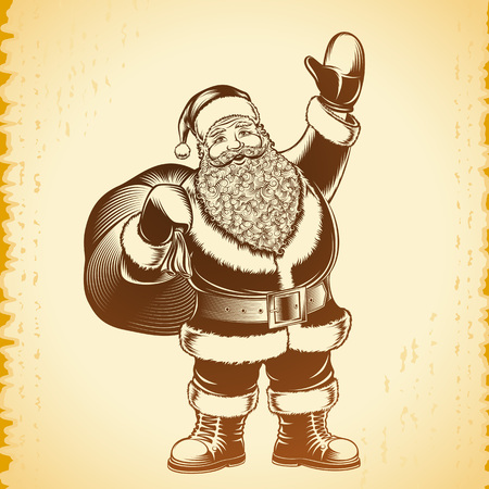 Santa Claus hold bag with presents in retro hand drawing style on a vintage background. Head character of Christmas or New Year. Classic vector art illustration in ink sketch for stamp or print design