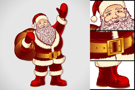 Santa Claus with bag of gifts. Cartoon character of Christmas or New Year holidays. Classic vector graphic art illustration in retro pop art vintage style of hand drawing ink sketch for stamp or print