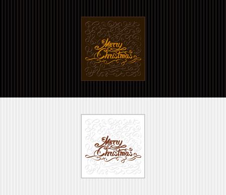 テキスト碑文メリー クリスマスのグリーティング カード。手が真っ黒なレタリングやカリグラフィのデザイン要素を描画します。8.5x3.66 のリーフレ