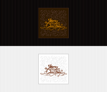 Greeting cards with a text inscription Merry Christmas. Hand drawing inky lettering and calligraphic design elements. Vector illustration of congratulatory postcard, banner, flyer, leaflet of 8.5x3.66 Ilustração