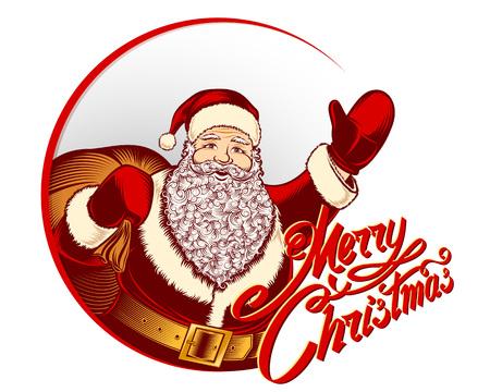Biglietto di auguri con Babbo Natale e lettering segno buon Natale per le vacanze invernali. Archivio Fotografico - 91398695