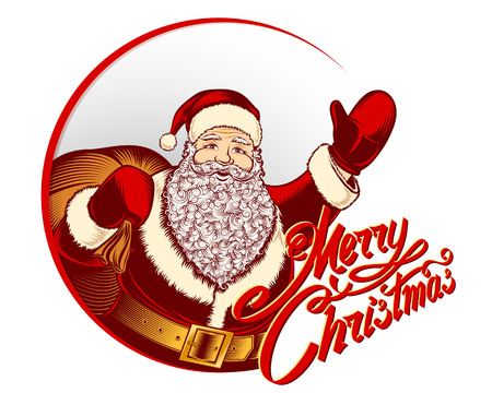Greeting card with Santa Claus and lettering sign Merry Christmas for the winter holiday.