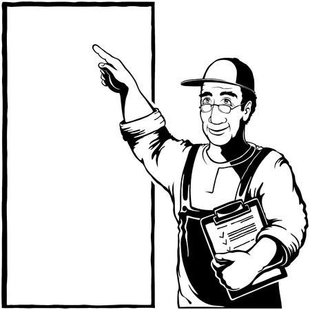 Service man shows with index finger on poster with copy space for text list. Experienced worker in glasses pays attention on a stand. Vector hand drawing illustration in black ink retro graphic style Ilustração