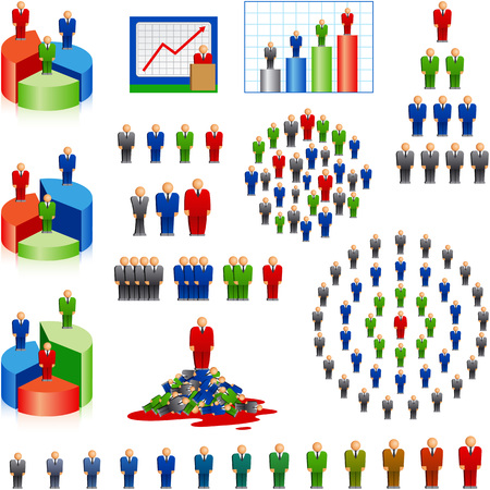 Set of icons of businessmen, employees, chiefs. The structure of the management personnel and the career ladder. Human worker resources statistics. Vector illustration