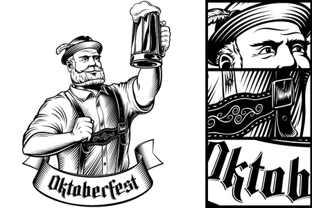 Vector Man holding glass of beer in traditional bavarian clothes Trachtenhut, Lederhosen on Oktoberfest. Hand drawing illustration of character in vintage engraving inked retro style for stamp, print.
