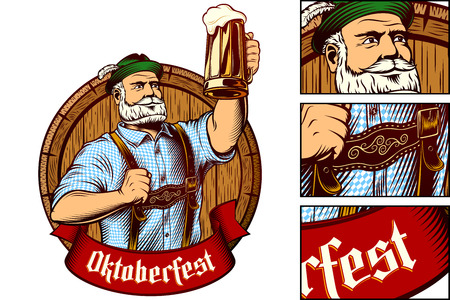 Bavarian man holds glass of beer near barrel. Traditional clothes Trachtenhut, Lederhosen, plaid Shirt. Ribbon with gothic lettering Oktoberfest. Vector graphic illustration in retro engraving style.