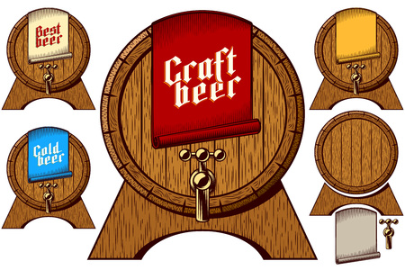 Wooden beer barrel on stand with beer tap. Label tag on First Keg on Oktoberfest with lettering inscription Craft, Cold, Best. Set of vector graphic illustration in retro ink engraving vintage style.
