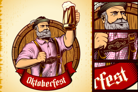 Glass of beer in rising up hand of man in traditional bavarian clothes on background of wooden barrel. Ribbon with title Oktoberfest. Vector vintage graphic illustration in retro engraving ink style. Ilustração