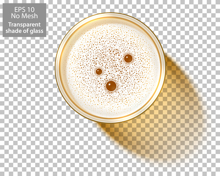 Top view on Glass of Beer isolated on transparent background. Beer Mug filled of lager with foamy bubbles. Realistic shadow of transparent glass for use with any backdrop. Vector Illustration. No Mesh