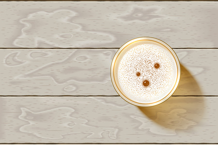 Glass of Beer with foamy lager on bleached wooden table. Top view on Beer Mug filled of alcohol drink with hoppy bubble. Realistic shadow, foam pattern, wooden background. Vector Illustration. No Mesh