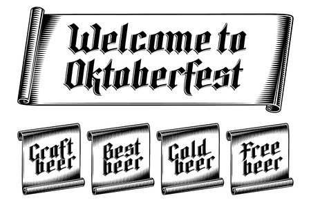 Banner with inscription Craft Best Cold Free beer, Welcome to Oktoberfest. Gothic Lettering on paper scroll. Vector graphic illustration set of tag label sticker in vintage engraving monochrome style. Ilustração