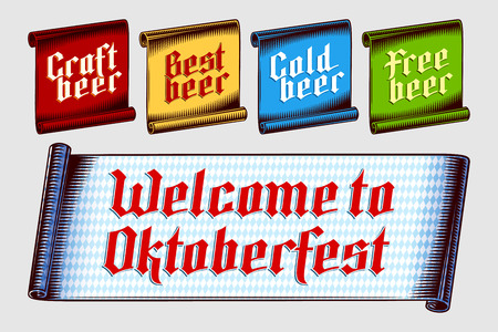 Banner label scroll with inscription Craft Best Cold Free beer, Welcome to Oktoberfest from gothic letters. Vector graphic illustration set of tag sticker in vintage engraving style. Colored versions. Ilustração