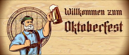 Invitation card with stamped title Willkommen zum Oktoberfest on wooden background. Man raise up beer mug with frothy lager. Template design leaflet, flyer with copy space. Vector vintage illustration
