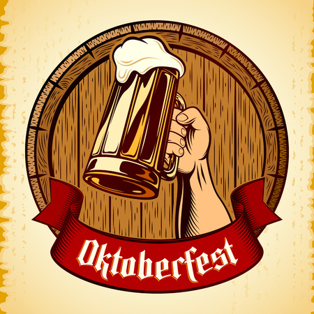 Right Hand raises Mug of Beer with frothy lager on wooden barrel background on vintage backdrop. Title Oktoberfest on banner ribbon. Vector graphic illustration in retro stamping ink engraving style.