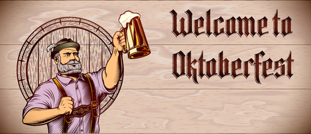 Invitation flyer with lettering Welcome to Oktoberfest and copy space on wooden background. Man raise up hand with beer mug with foamy lager. Template design card, leaflet. Vector vintage illustration Ilustração