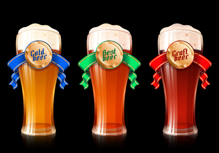 Glass of beer with ribbon and golden medal with gothic lettering Cold, Best, Craft Beer. Set of realistic vector illustration of mugs with banners for Oktoberfest or bar and brewing theme. No Mesh Illustration