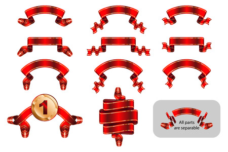 Solemn gift ribbon, winning label, achievement tape, congratulatory banner decorated of golden lines in shape bending, wave, arc with copy space. Set of vector isolated red realistic illustrations.