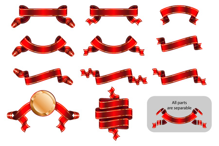 Ribbons and banners set with copy space in shape bending, wave, arc, rise. Solemn heraldic tapes with golden lines. Richly greeting design. Vector isolated realistic illustrations. Version Red B