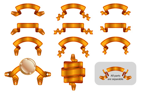 Ribbons and banners set with copy space. Solemn heraldic golden tapes. Richly greeting design. Vector isolated realistic illustrations. Version Golden A