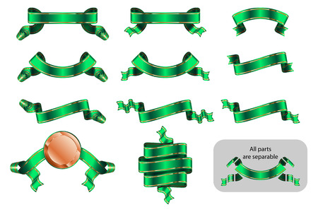 Banners, award ribbons, heraldic tapes with lines. Frames with copy space in shape bending, wave, arc. Richly solemnly greeting design. Vector set of isolated realistic illustrations. Version Green B Ilustração