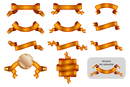 Ribbons and banners set with copy space. Solemn heraldic golden tapes. Richly greeting design. Vector isolated realistic illustrations. Version Golden B Archivio Fotografico - 109742487