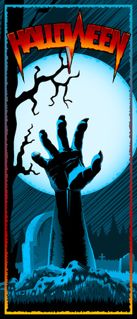 Hand of zombie raised up from grave on background with full Moon. Template design of invitation card, leaflet, banner, flyer for Halloween holiday from vector graphic illustration. Size 3.66x8.5 inch Illustration