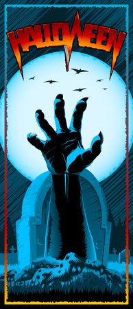 Hand of zombie raised up from grave on background with full Moon. Template design of invitation card, leaflet, banner, flyer for Halloween holiday from vector graphic illustration. Size 3.66x8.5 inch Illusztráció