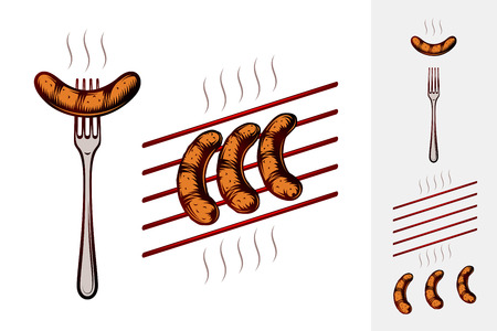 Grilled sausages on fork and on grill grate with smoke. Traditional bavarian beer snack in restaurants and pubs on Oktoberfest. Colored vector hand drawn illustration in retro inked engraving style.