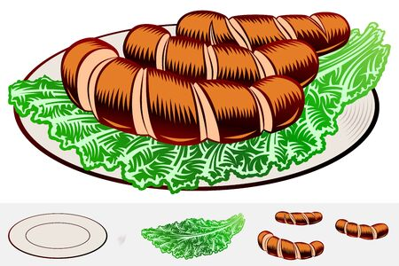 Grilled incised sausages with leaf lettuce on a plate. Traditional bavarian beer snack in restaurants and pubs on Oktoberfest. Colored vector hand drawn illustration in retro inked engraved style.
