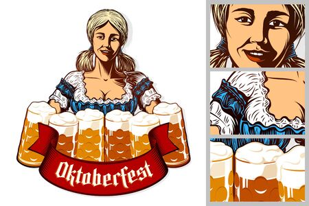 Oktoberfest girl waitress holding mugs of beer in traditional bavarian dirndl. Isolated emblem. Ribbon with title Oktoberfest. Vector vintage graphic illustration in retro engraving inked print style Illustration