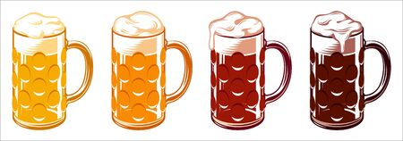 Icon set of types of beer for Oktoberfest in dimpled glass mugs. Vector illustration Archivio Fotografico - 127384553