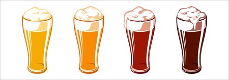Icon set of types of beer for Oktoberfest in dimpled glass mugs. Vector illustration