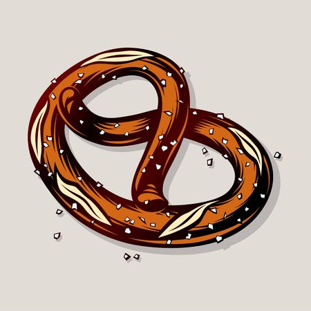 Salty baked pretzel. Bavarian snack at the Oktoberfest beer festival. Traditional German food. Appetizer for ale and lager. Colored vector hand drawn illustration in vintage retro inked engraved style