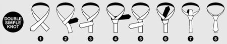 Guideline for tying a tie for men. Version of the Double Simple knot tie instruction illustration. Set of vector icons.