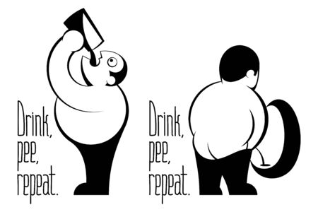 Fat man with belly drinking beer from glass, pissing in urinal. Caption from lettering motto Drink Pee Repeat. Vector graphic illustration for Oktoberfest, brewing, bar in black and white inked style