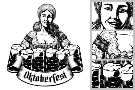 Oktoberfest girl waitress holding mugs of beer in traditional bavarian dirndl. Ribbon with gothic lettering Oktoberfest. Vector vintage graphic illustration in retro engraving inked print style. Illusztráció