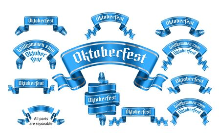 Banners with name of traditional bavarian beer festival Oktoberfest. Ribbons with title Willkommen zum in german from gothic letters. Set of vector isolated realistic blue illustrations Illusztráció