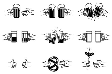 Hands clinks glass beer mugs, gives grilled sausage on fork, salted pretzel, shows gesture of like thumb up. Friendly hands drinks of beer. Set of vector icon illustration for Oktoberfest, pub or bar.