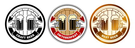 Set of beer coasters with hands clinking of glass mugs with foamy lager. Round beer mat with title Best, Craft Beer, Oktoberfest. Set of vector emblems, stickers for brewing in flat line graphic style
