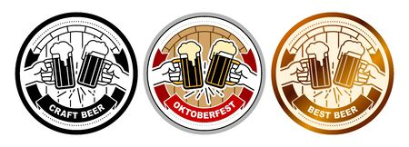 Hands clinking of beer mugs with frothy ale. Banner heraldic ribbon with title Oktoberfest, Best, Craft Beer. Vector illustrations of round sticker, emblem, beer mat coaster, icon in flat line style.