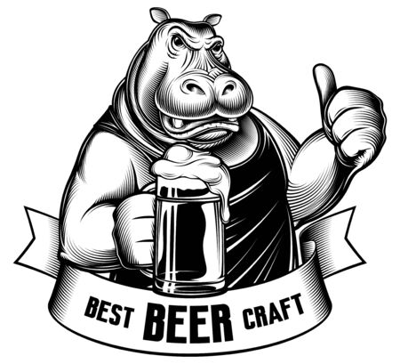 Vintage engraved hippo holds beer glass. Gesture like thumbs up. Emblem with serious aggressive animal character. Best Craft Beer on banner ribbon. Retro monochrome vector illustration for Oktoberfest
