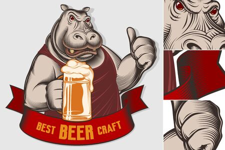 Serious big hippopotamus holds glass of beer, shows thumb up. Character design of strong aggressive animal. Best Craft Beer on banner ribbon. Vector vintage inked engraved retro illustration for print Illusztráció