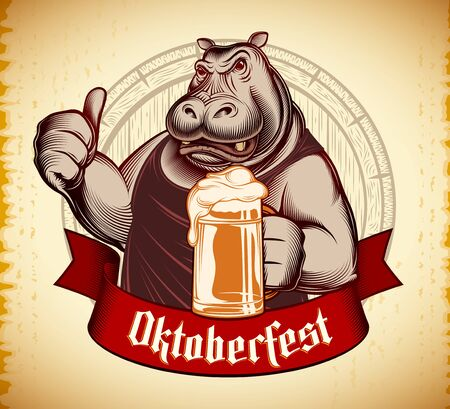 Hippo holds glass of beer, shows thumb up. Character design of mascot of big aggressive angry animal. Oktoberfest on banner ribbon. Vector retro inked engraved illustration on vintage background.