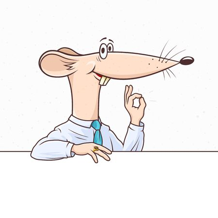 Office rat as the symbol of the New Year 2020 smiles and shows a gesture Okay. Funny cartoon mouse in a business shirt and tie is leaned on the banner with copy space. Vector hand drawn illustration.